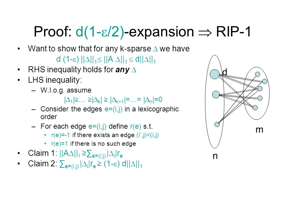 Proof: d(1-  /2)-expansion  RIP-1 Want to show that for any k-sparse  we have d (1-  ) ||  || 1  ||A  || 1  d||  || 1 RHS inequality holds for any  LHS inequality: –W.l.o.g.