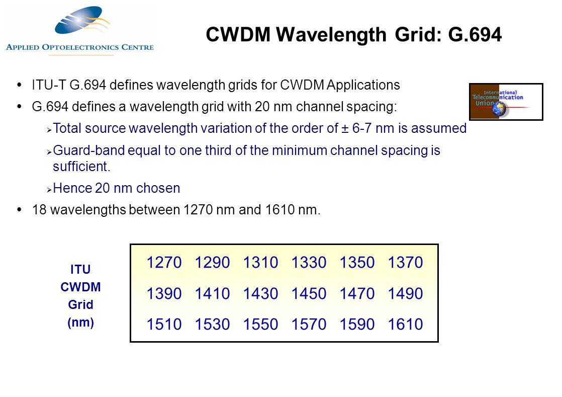 127012901310133013501370 139014101430145014701490 151015301550157015901610  ITU-T G.694 defines wavelength grids for CWDM Applications  G.694 define