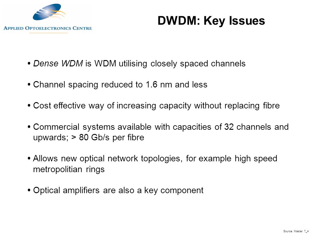  Dense WDM is WDM utilising closely spaced channels  Channel spacing reduced to 1.6 nm and less  Cost effective way of increasing capacity without
