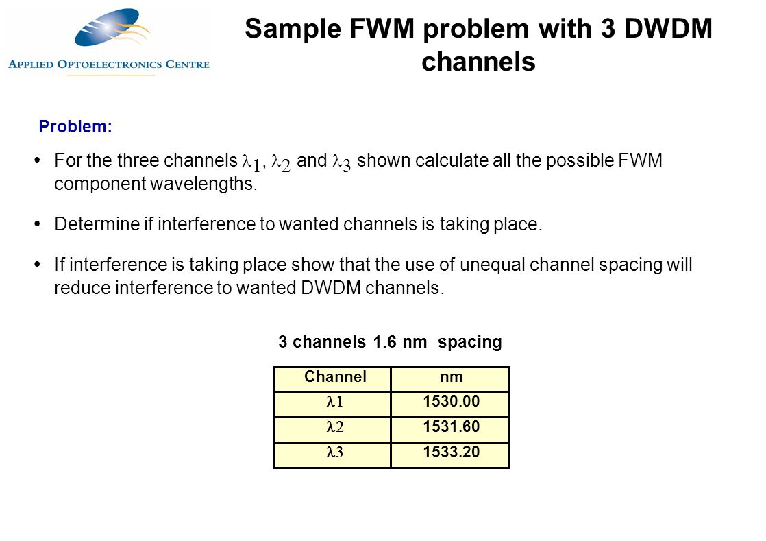 Channelnm  1530.00  1531.60  1533.20 3 channels 1.6 nm spacing  For the three channels ,  and  shown calculate all the possible FWM component w