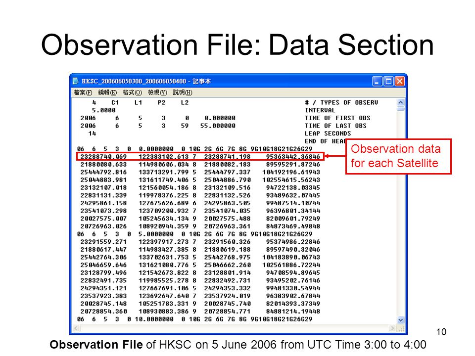 10 Observation File: Data Section Observation data for each Satellite Observation File of HKSC on 5 June 2006 from UTC Time 3:00 to 4:00