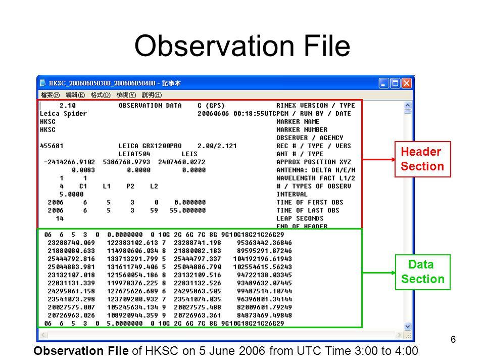 17 Navigation File Navigation File of HKSC on 5 June 2006 from UTC Time 3:00 to 4:00