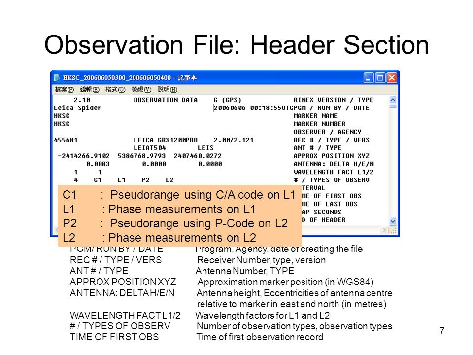 7 Observation File: Header Section PGM/ RUN BY / DATE Program, Agency, date of creating the file REC # / TYPE / VERS Receiver Number, type, version AN