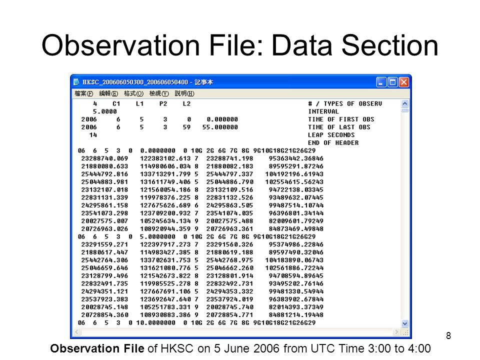 9 Observation File: Data Section Satellite Number Number of Satellites Epoch Observation File of HKSC on 5 June 2006 from UTC Time 3:00 to 4:00 Event Flag