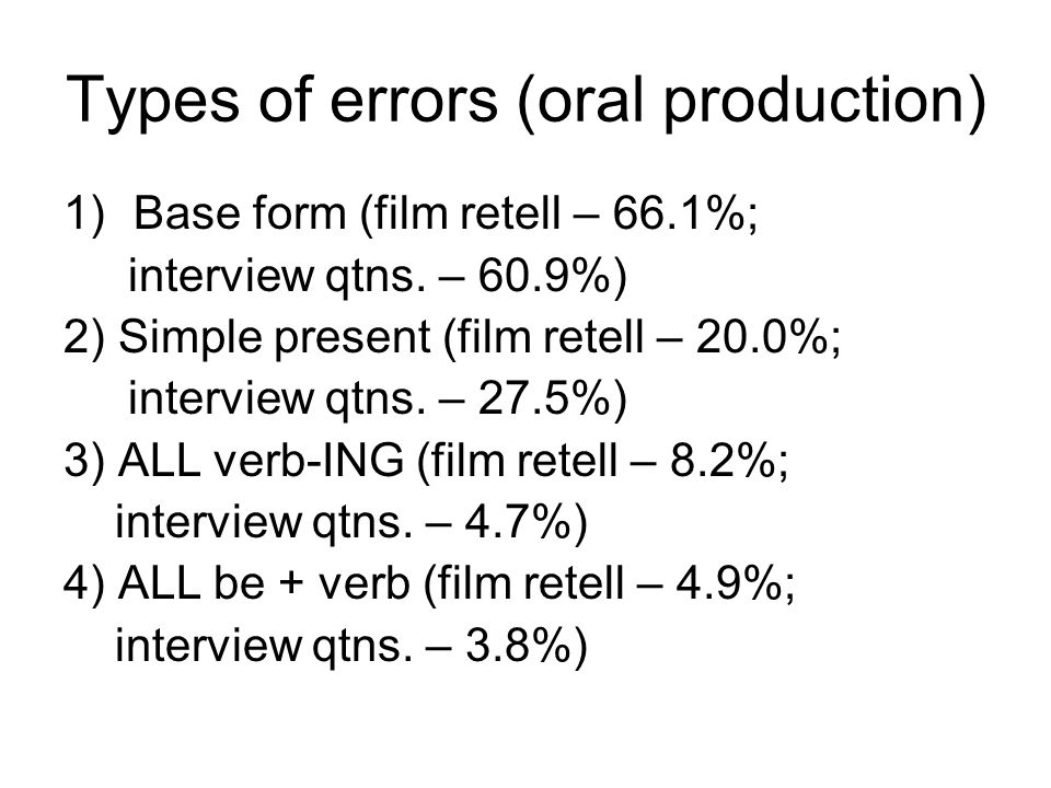 Types of errors (oral production) 1)Base form (film retell – 66.1%; interview qtns.