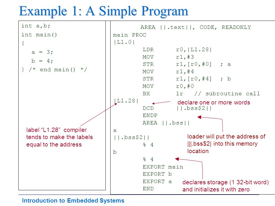 Introduction to Embedded Systems Example 1: A Simple Program int a,b; int main() { a = 3; b = 4; } /* end main() */ AREA ||.text||, CODE, READONLY mai