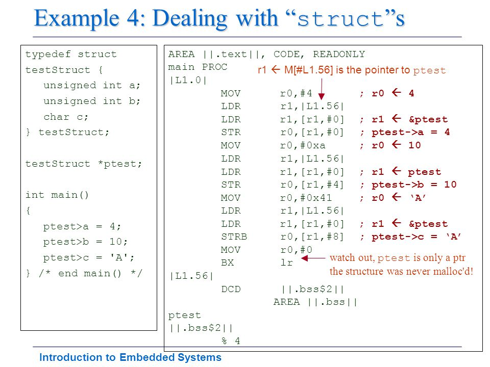 "Introduction to Embedded Systems Example 4: Dealing with "" struct ""s typedef struct testStruct { unsigned int a; unsigned int b; char c; } testStruct;"