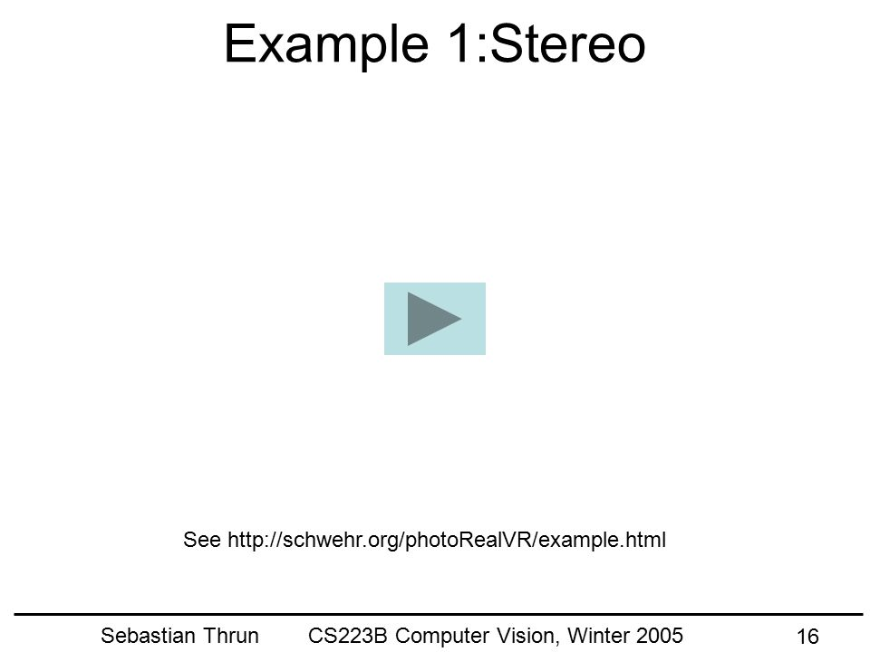 Sebastian Thrun CS223B Computer Vision, Winter 2005 15 Combined Model Real Scene Real Cameras Image Output Synthetic Camera (slides courtesy of Michae
