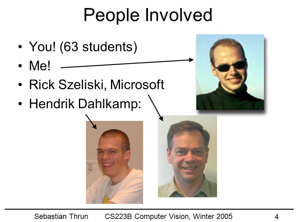 Sebastian Thrun CS223B Computer Vision, Winter 2005 14 Real Scene Computer Vision Real Cameras Model Output (slides courtesy of Michael Cohen)