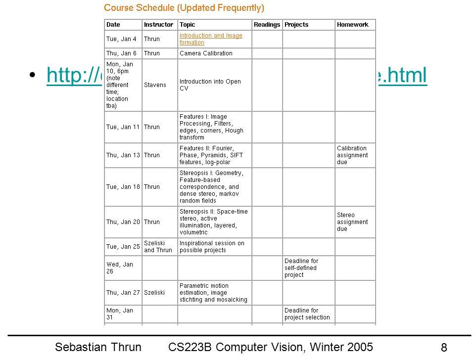 Sebastian Thrun CS223B Computer Vision, Winter 2005 8 Course Outline http://cs223b.stanford.edu/schedule.html