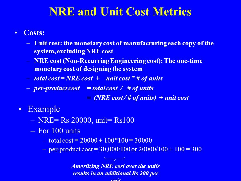 NRE and Unit Cost Metrics Costs: –Unit cost: the monetary cost of manufacturing each copy of the system, excluding NRE cost –NRE cost (Non-Recurring E