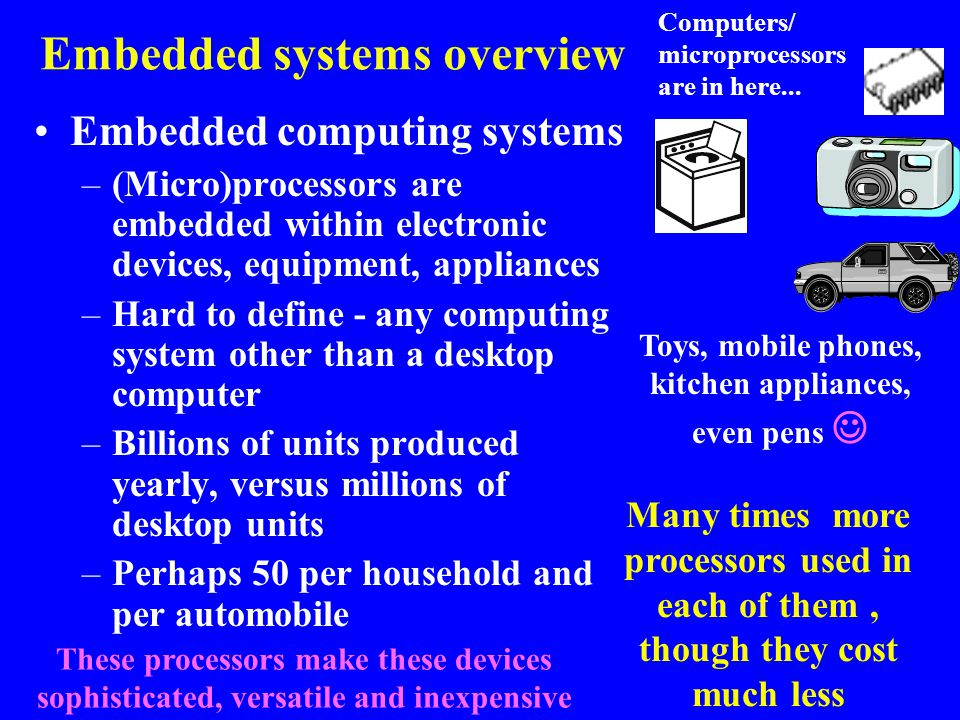 A short list of embedded systems And the list goes on and on Anti-lock brakes Auto-focus cameras Automatic teller machines Automatic toll systems Automatic transmission Avionic systems Battery chargers Camcorders Cell phones Cell-phone base stations Cordless phones Cruise control Curbside check-in systems Digital cameras Disk drives Electronic card readers Electronic instruments Electronic toys/games Factory control Fax machines Fingerprint identifiers Home security systems Life-support systems Medical testing systems Modems MPEG decoders Network cards Network switches/routers On-board navigation Pagers Photocopiers Point-of-sale systems Portable video games Printers Satellite phones Scanners Smart ovens/dishwashers Speech recognizers Stereo systems Teleconferencing systems Televisions Temperature controllers Theft tracking systems TV set-top boxes VCR's, DVD players Video game consoles Video phones Washers and dryers