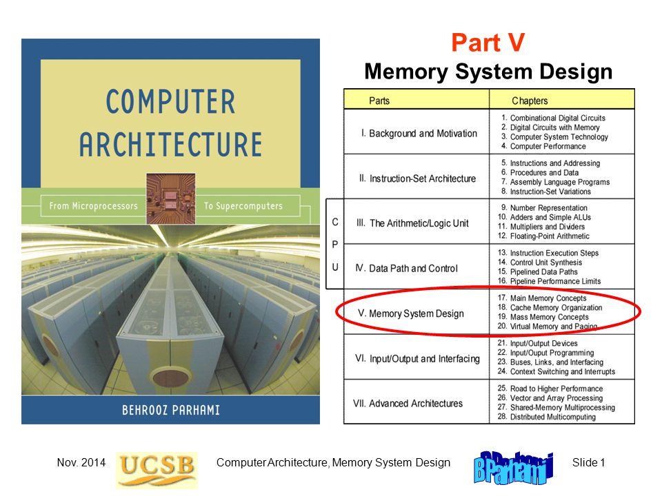 Nov. 2014Computer Architecture, Memory System DesignSlide 1 Part V Memory System Design
