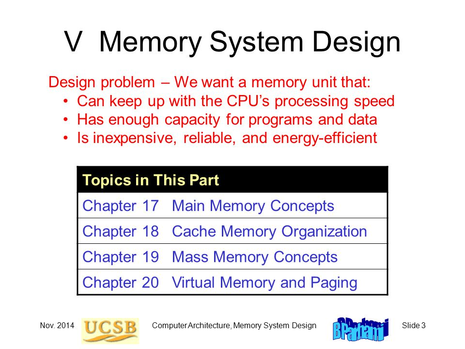 Computer Architecture, Memory System DesignSlide 3 V Memory System Design Topics in This Part Chapter 17 Main Memory Concepts Chapter 18 Cache Memory Organization Chapter 19 Mass Memory Concepts Chapter 20 Virtual Memory and Paging Design problem – We want a memory unit that: Can keep up with the CPU's processing speed Has enough capacity for programs and data Is inexpensive, reliable, and energy-efficient