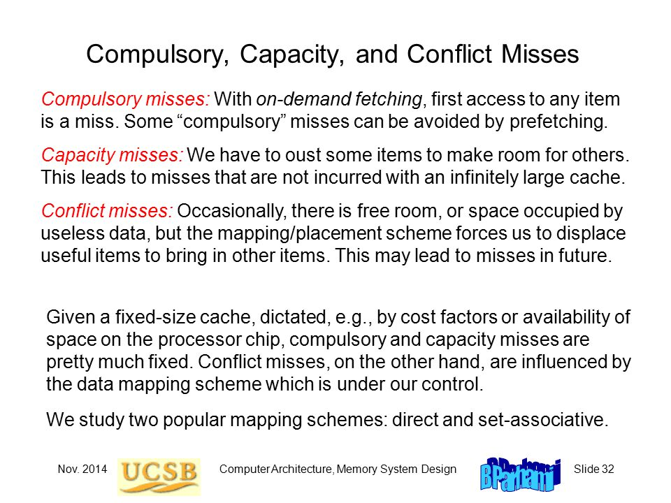 Nov. 2014Computer Architecture, Memory System DesignSlide 32 Compulsory, Capacity, and Conflict Misses Compulsory misses: With on-demand fetching, fir
