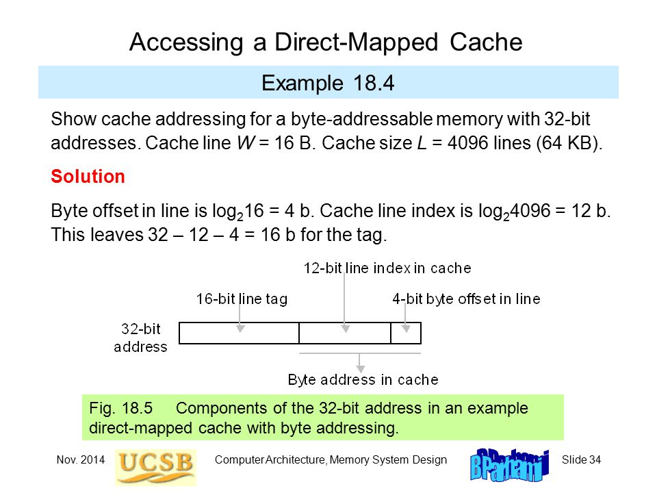 Nov. 2014Computer Architecture, Memory System DesignSlide 34 Accessing a Direct-Mapped Cache Example 18.4 Fig. 18.5 Components of the 32-bit address i