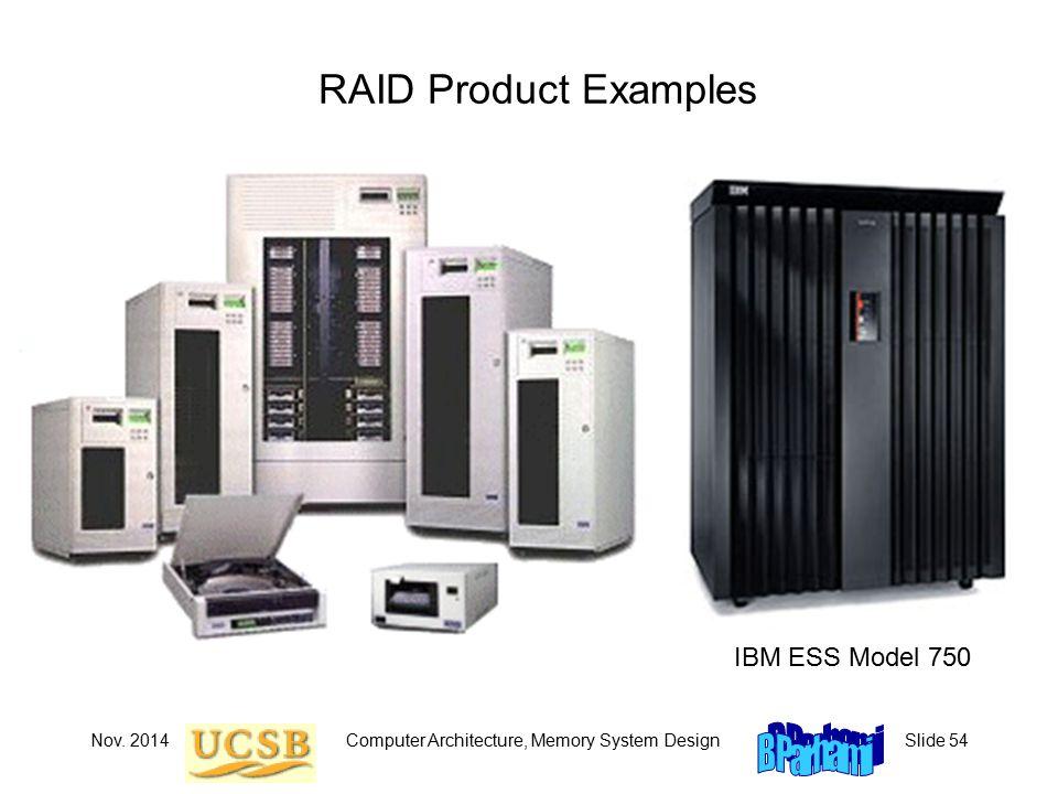 Nov. 2014Computer Architecture, Memory System DesignSlide 54 RAID Product Examples IBM ESS Model 750