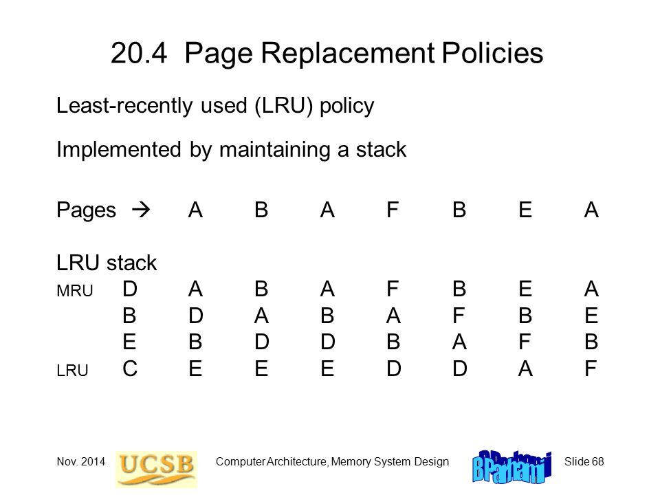 Nov. 2014Computer Architecture, Memory System DesignSlide 68 20.4 Page Replacement Policies Least-recently used (LRU) policy Implemented by maintainin