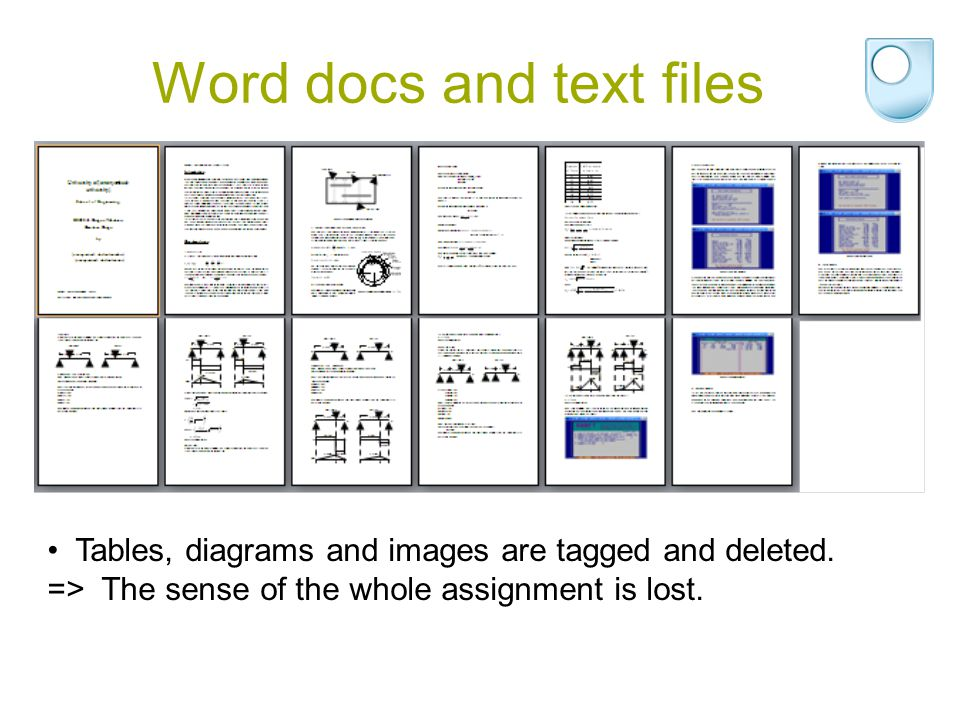 Word docs and text files Tables, diagrams and images are tagged and deleted. => The sense of the whole assignment is lost.