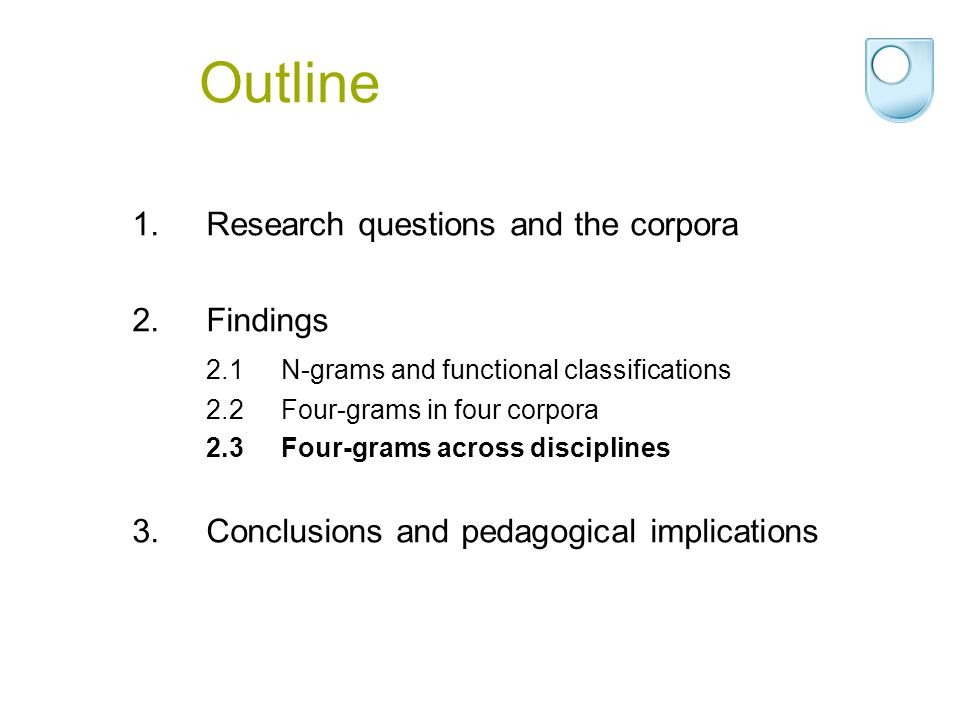 Outline 1.Research questions and the corpora 2.Findings 2.1N-grams and functional classifications 2.2Four-grams in four corpora 2.3Four-grams across d
