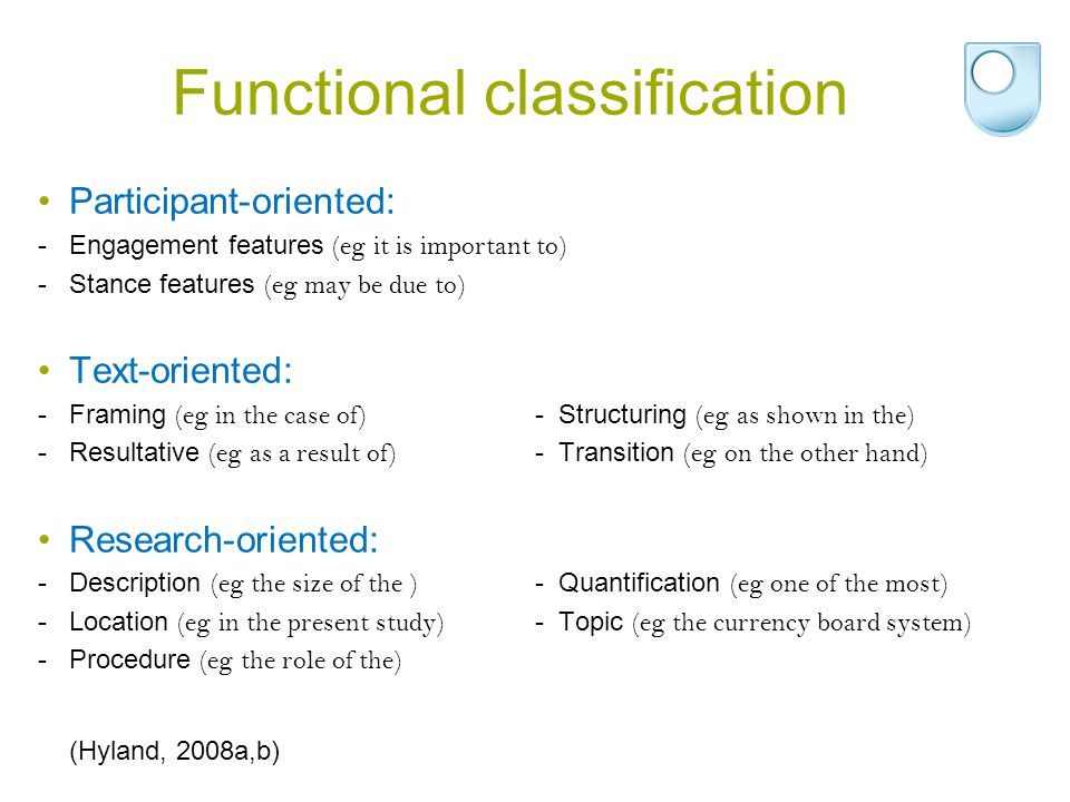 Functional classification Participant-oriented: -Engagement features (eg it is important to) -Stance features (eg may be due to) Text-oriented: -Frami