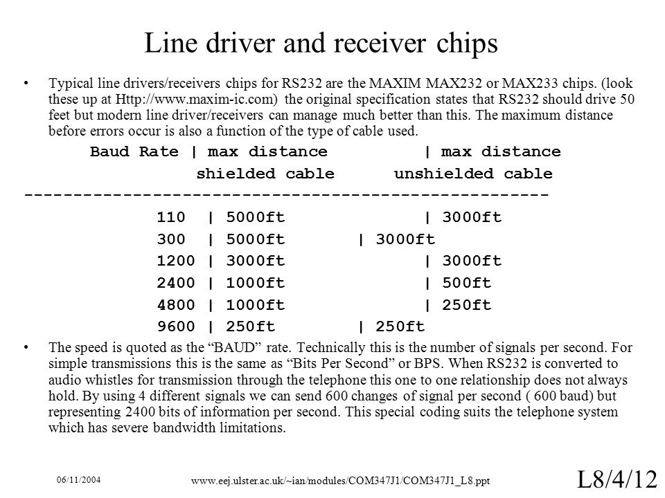 06/11/ L8/4/12 Line driver and receiver chips Typical line drivers/receivers chips for RS232 are the MAXIM MAX232 or MAX233 chips.
