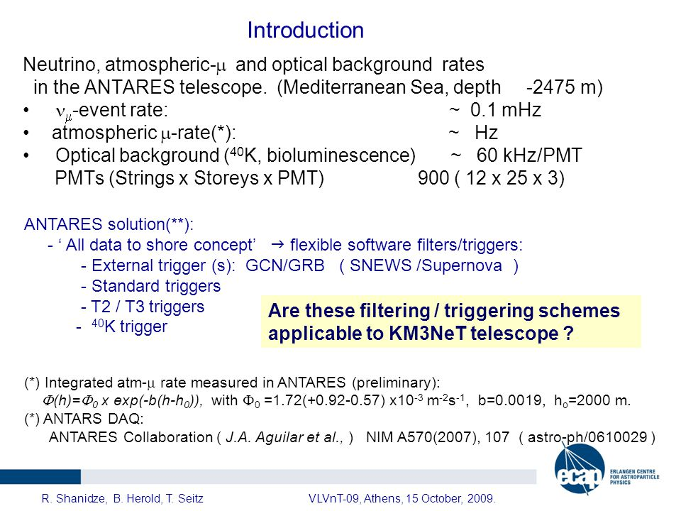 ANTARES T2/T3 triggers ANTARES-PHYS-2009-012.