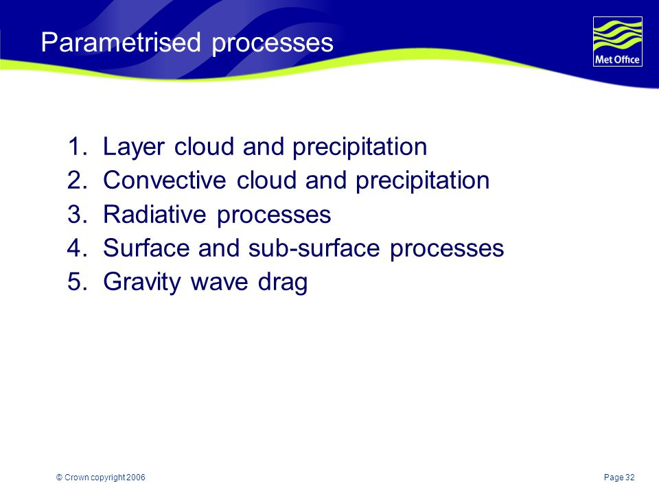 Page 32© Crown copyright 2006 Parametrised processes 1. Layer cloud and precipitation 2. Convective cloud and precipitation 3. Radiative processes 4.