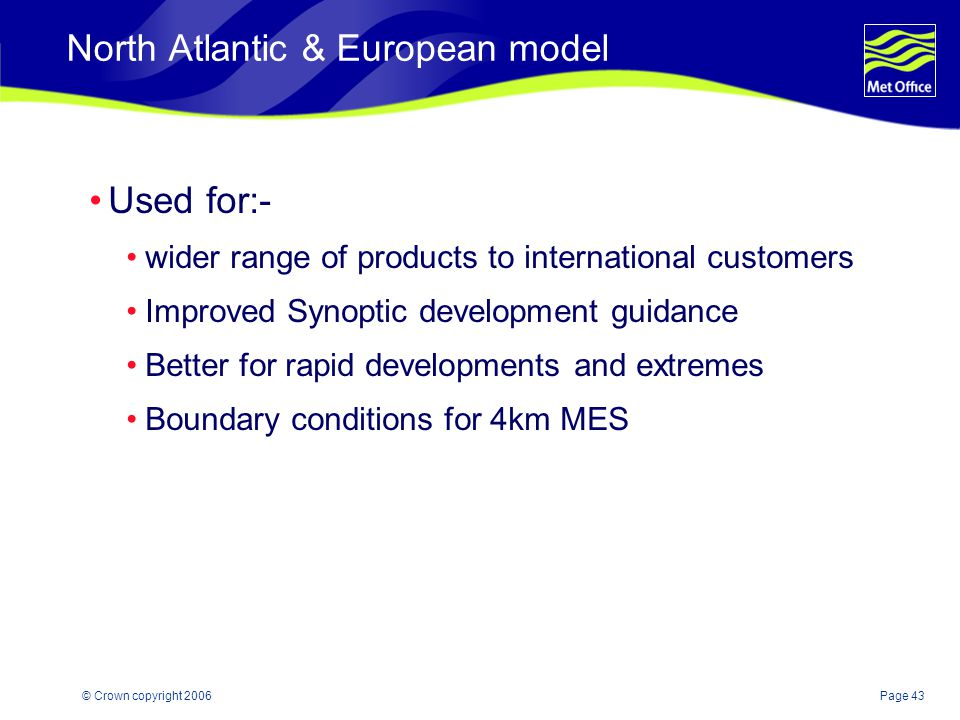 Page 43© Crown copyright 2006 North Atlantic & European model Used for:- wider range of products to international customers Improved Synoptic developm