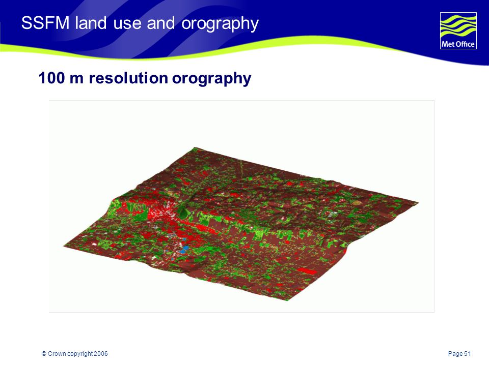 Page 51© Crown copyright 2006 SSFM land use and orography 100 m resolution orography