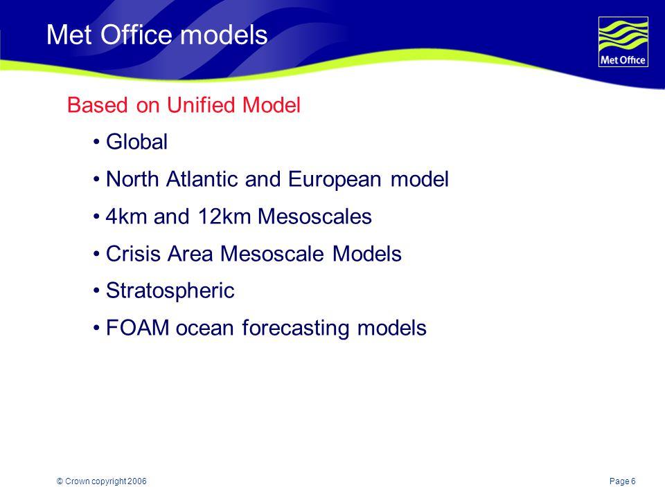 Page 7© Crown copyright 2006 Met Office models Other models including Wave (Global, European, UK Waters) Surge NAME SSFM