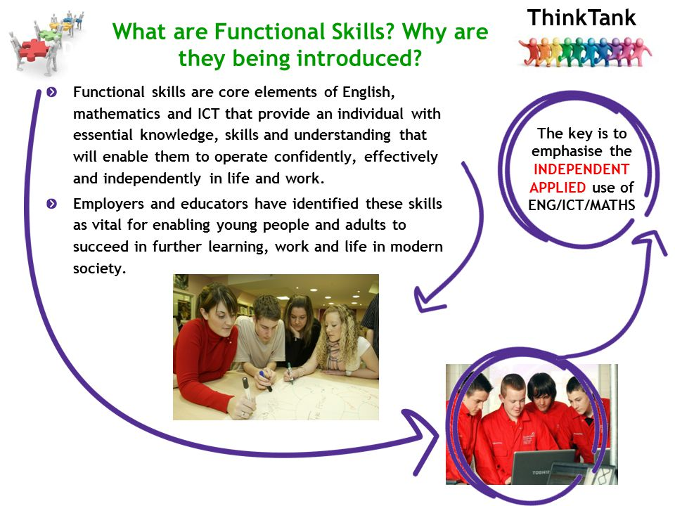ThinkTank Functional skills are core elements of English, mathematics and ICT that provide an individual with essential knowledge, skills and understanding that will enable them to operate confidently, effectively and independently in life and work.