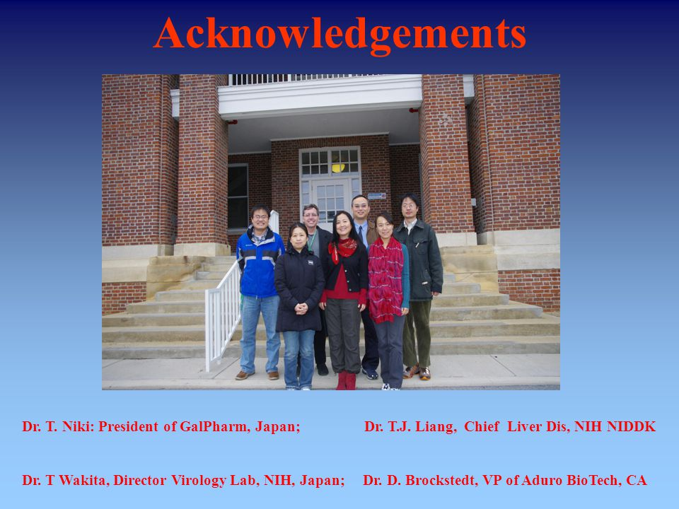 Acknowledgements Dr. T. Niki: President of GalPharm, Japan; Dr.