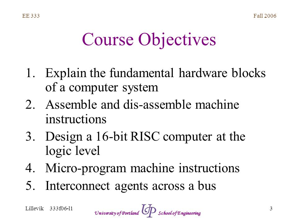 Fall 2006 3 EE 333 Lillevik 333f06-l1 University of Portland School of Engineering Course Objectives 1.Explain the fundamental hardware blocks of a computer system 2.Assemble and dis-assemble machine instructions 3.Design a 16-bit RISC computer at the logic level 4.Micro-program machine instructions 5.Interconnect agents across a bus