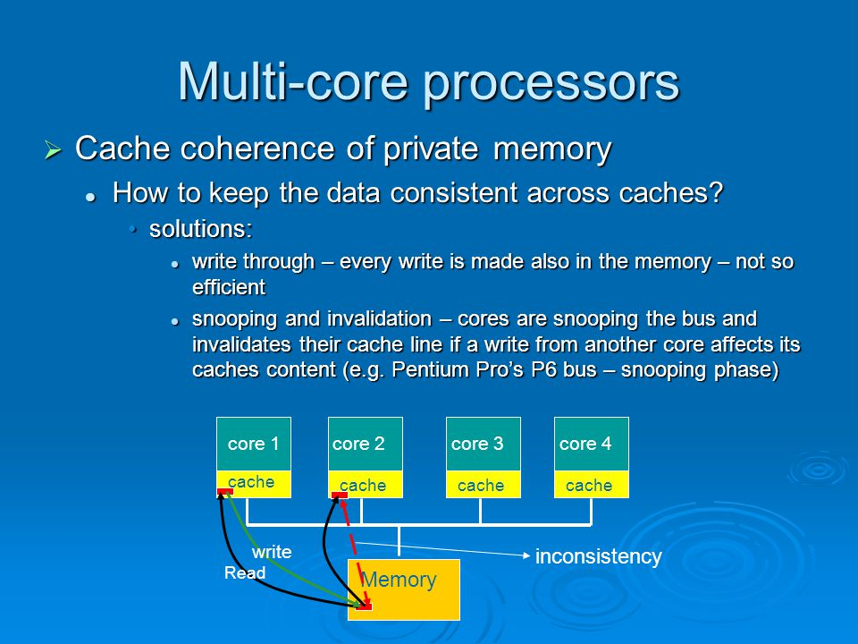 Multi-core processors  Cache coherence of private memory How to keep the data consistent across caches.