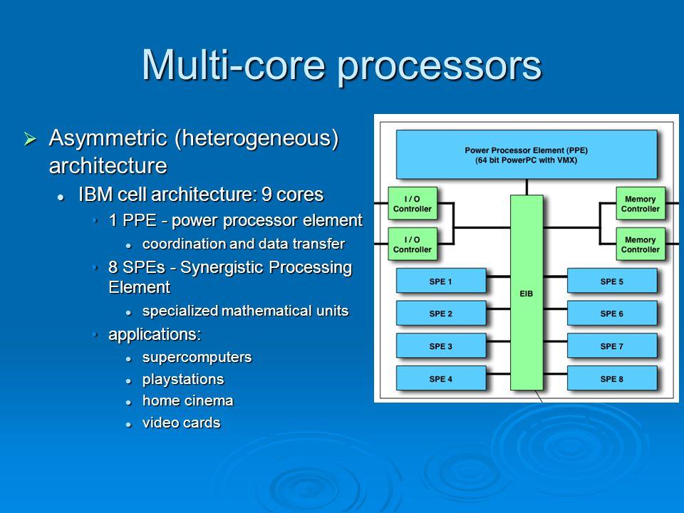 Multi-core processors  Asymmetric (heterogeneous) architecture IBM cell architecture: 9 cores IBM cell architecture: 9 cores 1 PPE - power processor