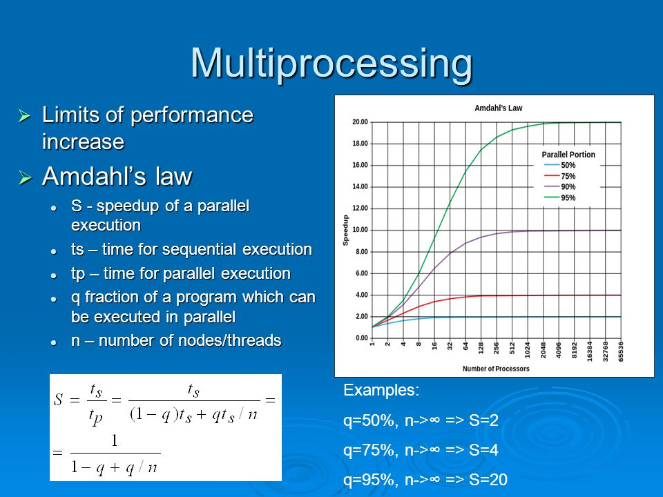 Multiprocessing  Limits of performance increase  Amdahl's law S - speedup of a parallel execution S - speedup of a parallel execution ts – time for sequential execution ts – time for sequential execution tp – time for parallel execution tp – time for parallel execution q fraction of a program which can be executed in parallel q fraction of a program which can be executed in parallel n – number of nodes/threads n – number of nodes/threads Examples: q=50%, n->∞ => S=2 q=75%, n->∞ => S=4 q=95%, n->∞ => S=20