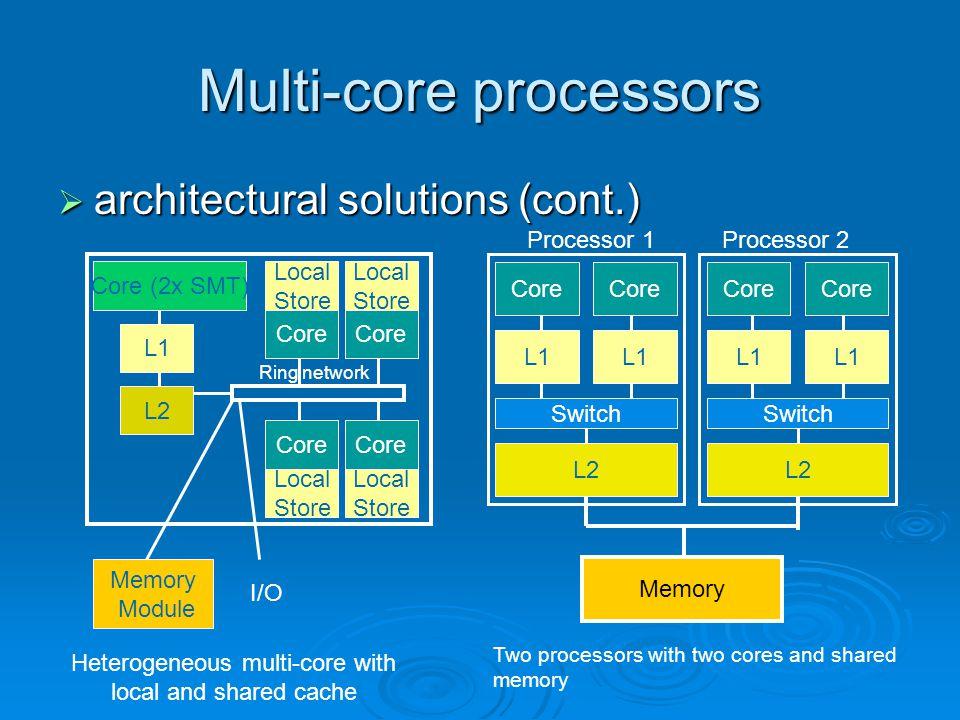 Multi-core processors  architectural solutions (cont.) Core (2x SMT) Core L1 L2 Core Local Store Local Store Core Local Store Local Store I/O Memory