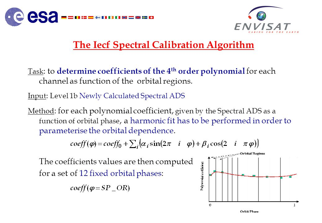 4 The Iecf Spectral Calibration Algorithm Task : to determine coefficients of the 4 th order polynomial for each channel as function of the orbital regions.