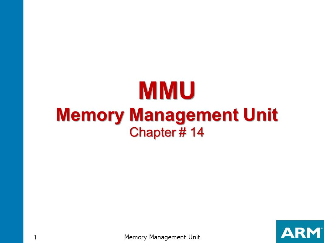 L1 Page table virtual-to-physical memory translation using 1 MB sections L1 master page table Selects physical memory Base offset Base Page table entry Translation table base address Virtual address physical address Copied to TLB 32 Memory Management Unit