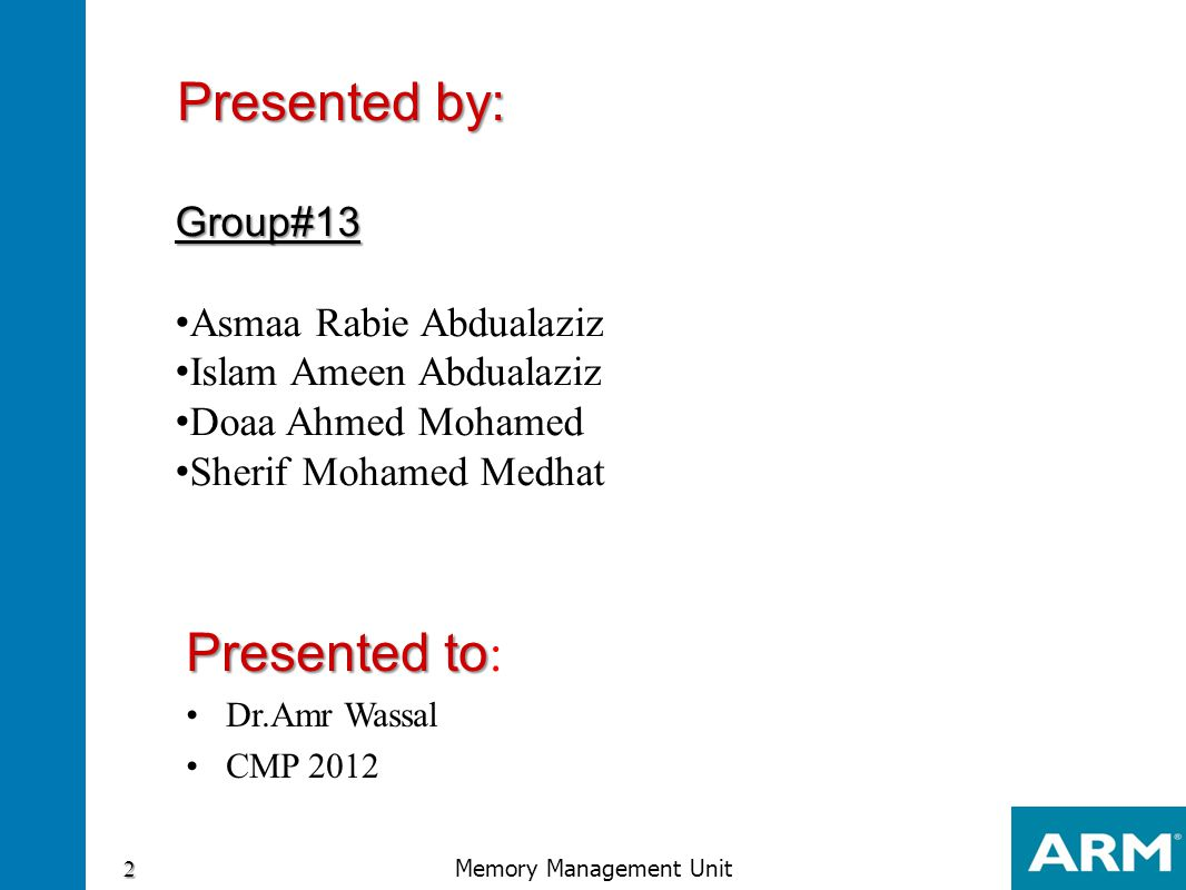Group#13 Asmaa Rabie Abdualaziz Islam Ameen Abdualaziz Doaa Ahmed Mohamed Sherif Mohamed Medhat 2 Memory Management Unit Presented by: Presented to Pr