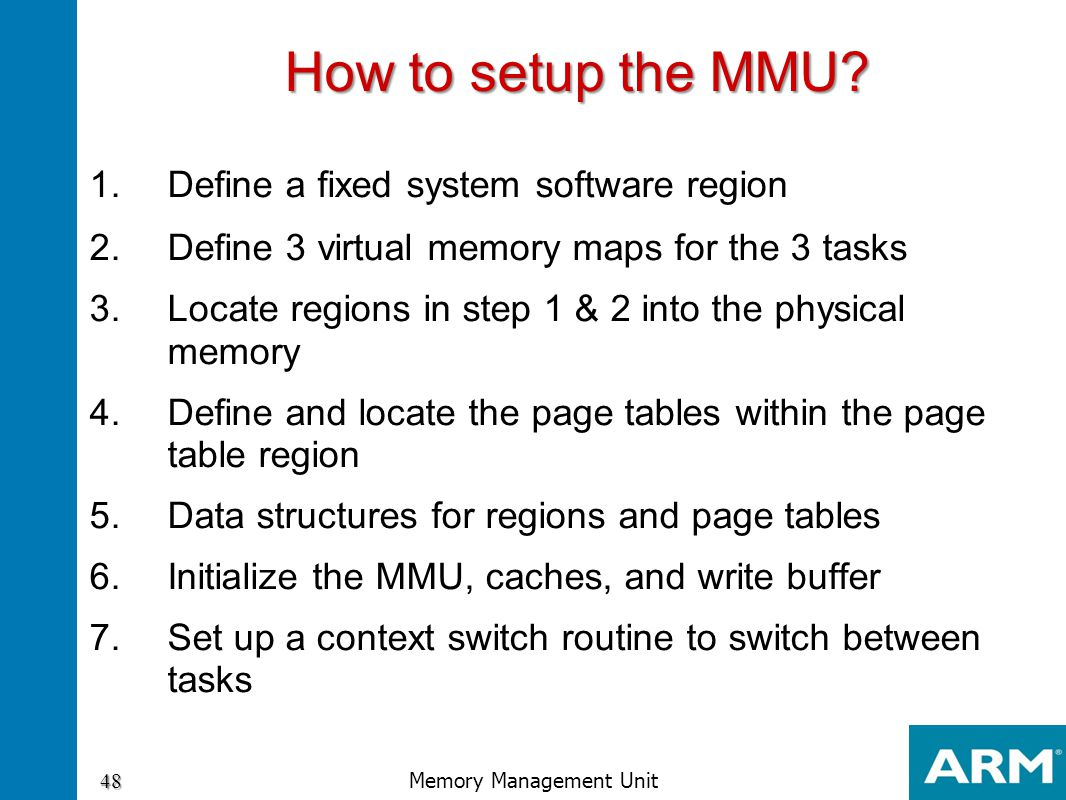 1.Define a fixed system software region 2.Define 3 virtual memory maps for the 3 tasks 3.Locate regions in step 1 & 2 into the physical memory 4.Defin