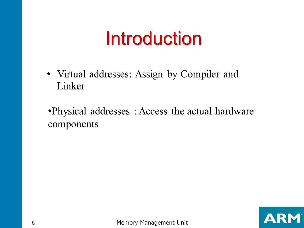 Domain bit access bit assignment 37 Memory Management Unit