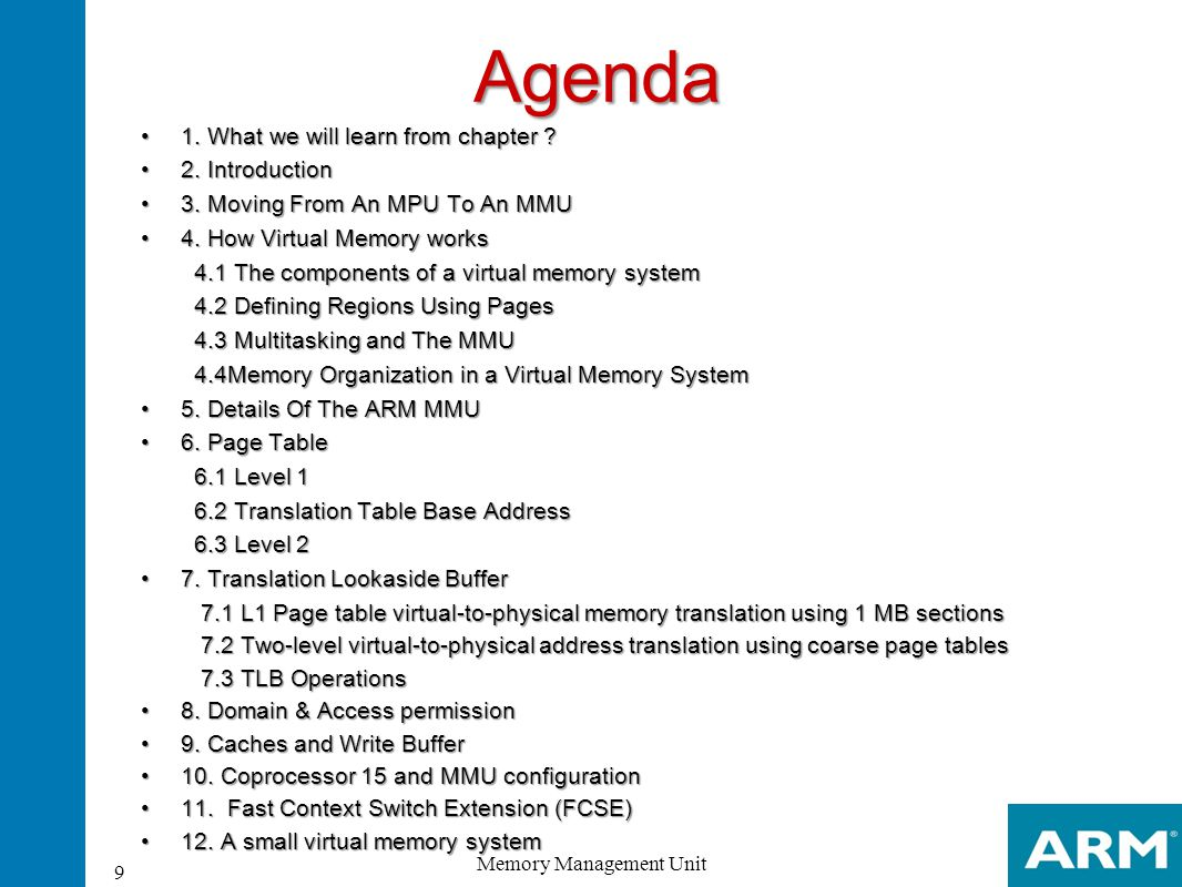 L1 page entries The upper 12 bits of the page table entry replace the upper 12 bits of the virtual address to generate the physical address Domain Access Permission Buffered Cached Section Entry 20 Memory Management Unit