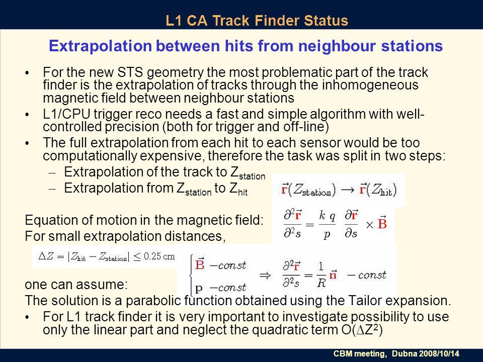 CBM meeting, Dubna 2008/10/14 L1 CA Track Finder Status Estimate of the quadratic term ΔZΔZ ΔZΔZ Z station Z X ΔX–ΔX– ΔX+ R α ΔX+ = ΔZ·tanα + R(cosα - √1- (sinα - ΔZ/R) 2 ) ΔX – = -ΔZ·tanα + R(cosα - √1- (sinα + ΔZ/R) 2 ) The neglected quadratic term O(∆Z 2 ) ≤ ∆X + with R = p / k q B tan α =|p x / p z |, cos α =|p z / p|,...