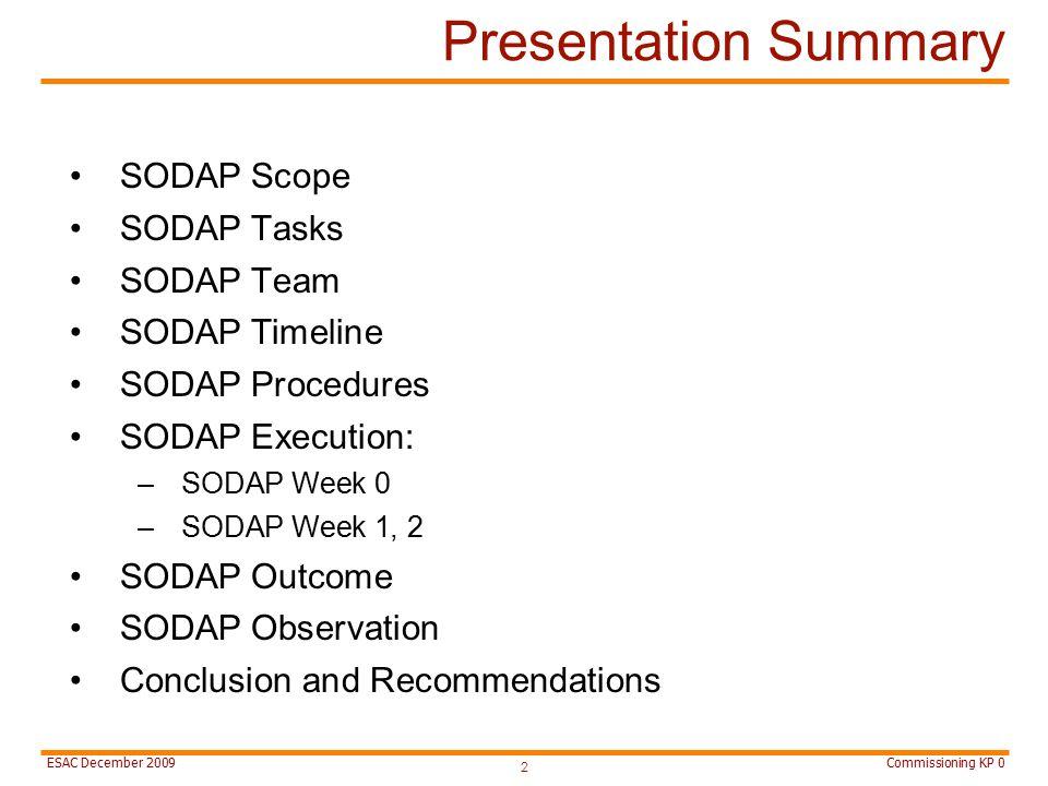 Commissioning KP 0ESAC December 2009 Presentation Summary SODAP Scope SODAP Tasks SODAP Team SODAP Timeline SODAP Procedures SODAP Execution: –SODAP Week 0 –SODAP Week 1, 2 SODAP Outcome SODAP Observation Conclusion and Recommendations 2