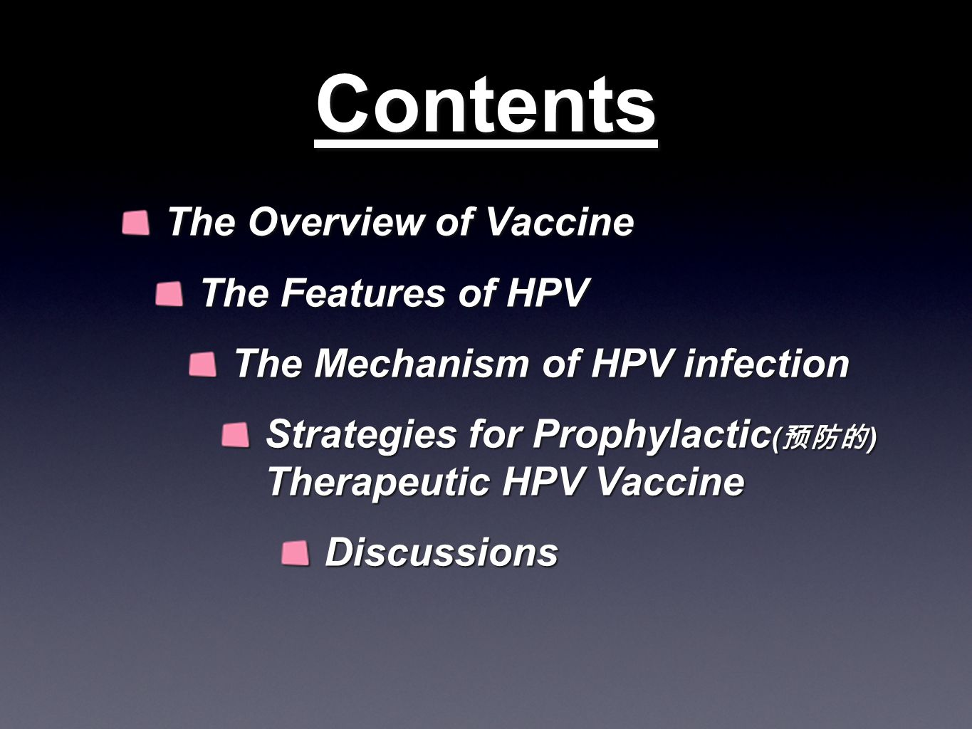 Contents The Overview of Vaccine The Features of HPV The Mechanism of HPV infection Strategies for Prophylactic ( 预防的 ) Therapeutic HPV Vaccine Discussions