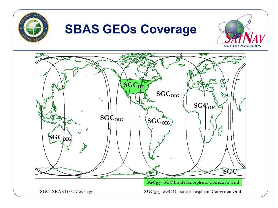 SBAS GEOs Coverage SGC=SBAS GEO CoverageSGC OIG =SGC Outside Ionospheric-Correction Grid SGC IIG =SGC Inside Ionospheric-Correction Grid SGC OIG SGC SGC OIG SGC IIG SGC OIG