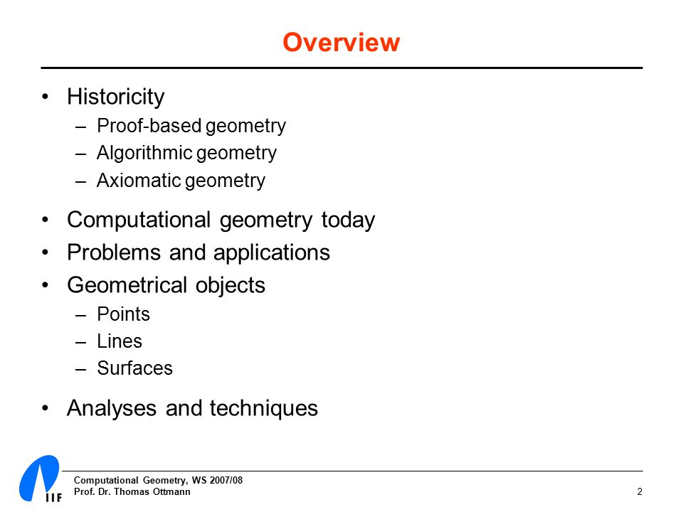 Computational Geometry, WS 2007/08 Prof. Dr.