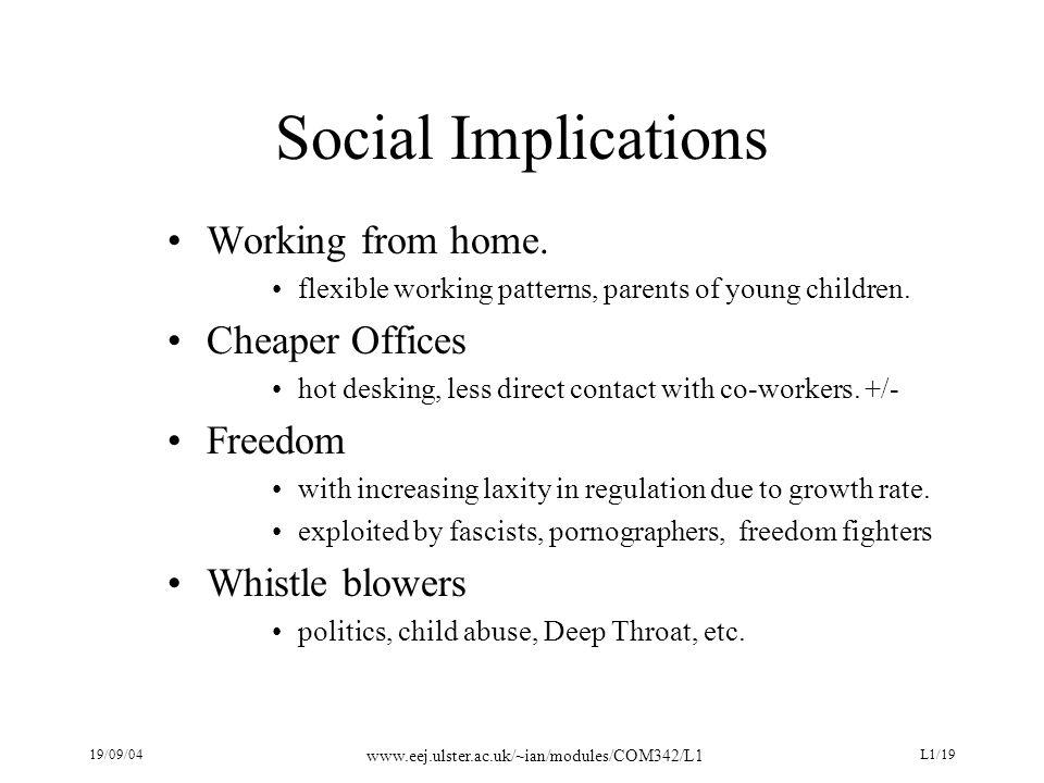 19/09/04 www.eej.ulster.ac.uk/~ian/modules/COM342/L1 L1/19 Social Implications Working from home.